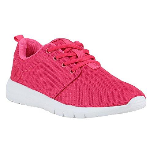 Damen Sportschuhe | Neon Laufschuhe | Runners Sneakers | Fitness Schnürer | Prints Blumen | Übergrößen Pink Pink Weiss