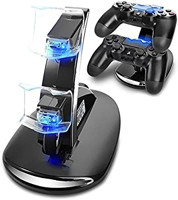 PS4 Controller Charging Station, Playstation 4 Games Dualshock 4 Dock Charger Stand Cradle Holder for PS4, PS4 Slim, PS4 Pro Controller by Y TEAM