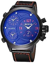SKONE Big Face Leather Strap Three Function Dials Quartz Mens Watch (Orange)