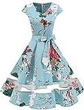Gardenwed 1950er Vintage Retro Cocktailkleid Cap Sleeves Rockabilly Kleider Damen Schwingen Petticoat Faltenrock Floral S