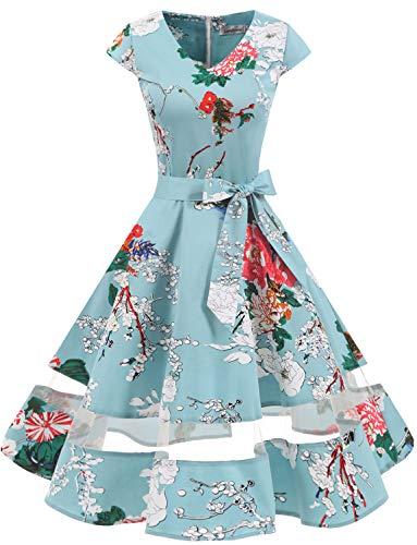 Gardenwed 1950er Vintage Retro Cocktailkleid Cap Sleeves Rockabilly Kleider Damen Schwingen Petticoat Faltenrock Floral M Vintage-kleid