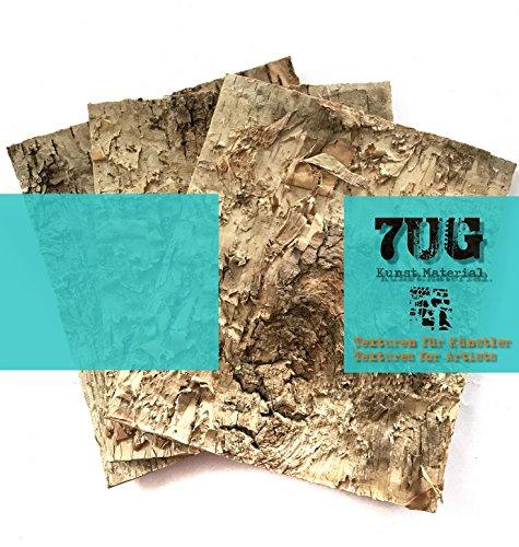 7UG Birkenrinde Platten (3er Set), je 15 x 15 cm, für Kunst, Mixed Media, Modellbau, Deko (Binder Dreiteilige)