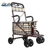 ShenZuYangShop Shpping Cart Carbon Stahl Rot Alter Mann Walker rollator Kinderwagen Faltbare Einstellbare Doppel Bremse einkaufswagen