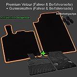 AME Set - Auto-Fußmatten Premium Velours mit orangener Kettelung und Befestigungsclips + Auto-Gummimatten; Geruch-vermindert und passgenau 4606PK+547358et