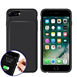 REDGO iPhone 7 6 6s Smart Battery Case, 4500mah Battery Case, Rechargeable Extended Battery Charging Case for iPhone 7 (4.7 inch), Soft Silicone Back Cover Backup Power Bank Case, Black