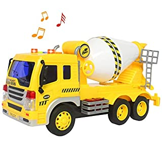 HERSITY Cement Mixer Truck with Lights and Sound Construction Vehicles Toys Friction Powered Car Party Decorations for Children