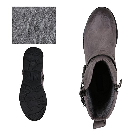napoli-fashion Damen Stiefeletten Stiefel Biker Boots Nieten Warm Gefüttert Schuhe Jennika Grau Stone