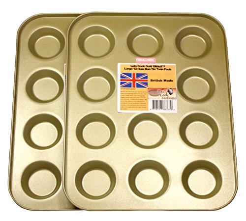 Lets Cook Große 12Loch Mince Pie/Dutt-Dosen, Set von zwei, Twin Pack, British, mit Gold GlideX nicht-Stick TM