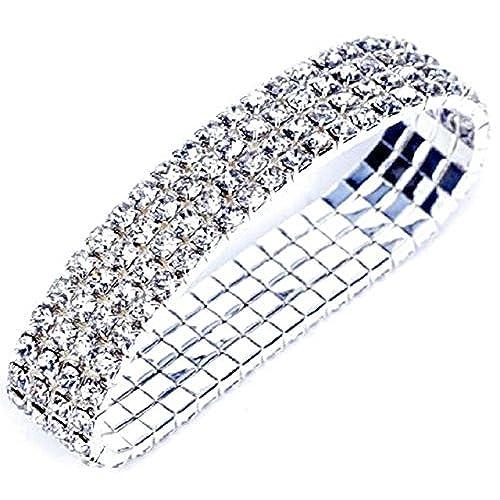 Charm Buddy 4 Row Stretch Bracelet Silver Plated with Sparkly Rhinestones Wedding Jewellery 07ko2mbmg