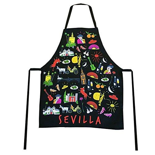 Schürze 100% Baumwolle Souvenir mit typischen Motive von Sevilla Andalusien Spanien Schwarz