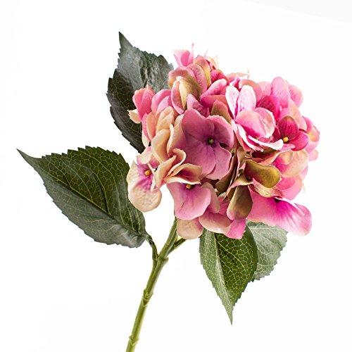 artplants Set 3 x Deko Hortensie, rosa, 50 cm, Ø 18 cm – 3 Stück Hortensien künstlich/Kunstblumen
