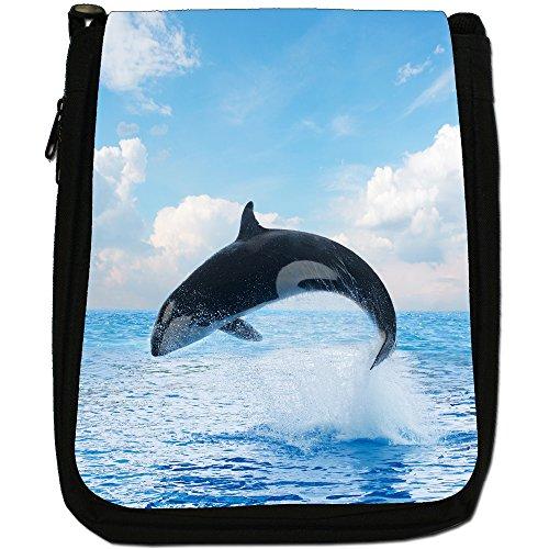 Killer/orca balene Orcinus orca Medium Nero Borsa In Tela, taglia M Acrobatic Killer Whale Jumps