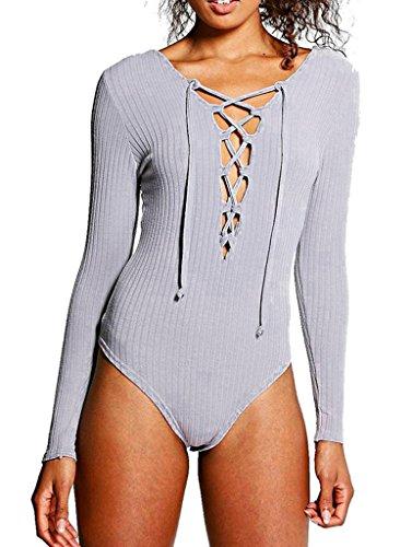 Bigood Bodysuit Femme Manche Longue Combinaison Sexy Col V Jumpsuit Pull Tricot Top Clubwear Gris