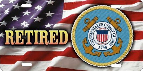 ATD® Design LLC Neuheit Nummernschild US Coast Guard Retired On American Flagge Auto Tag - Coast Guard License Plate