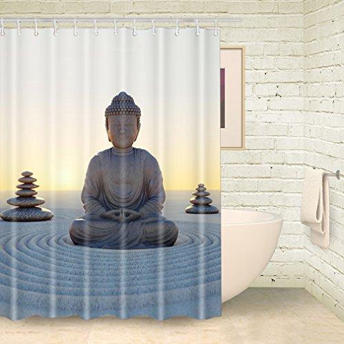 foog Meditation von Buddha Duschvorhänge Yoga Badezimmer Set mit Dusche Vorhang Haken, 70