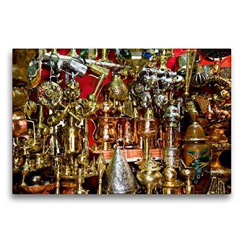 Calvendo Premium Textil-Leinwand 75 cm x 50 cm quer, Opulente Pracht im Souk von Marrakesch. | Wandbild, Bild auf Keilrahmen, Fertigbild auf echter Leinwand, Leinwanddruck Orte Orte -