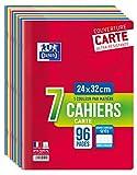 Oxford Scolaire Lot de 7 Cahiers agrafés 24x32cm 96 Pages grands carreaux assortis