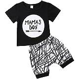 Moore Baby Boys Outfit Mamas Boy Pint Short Sleeve T Shirt Striped Leggings Pants Clothes Sweatsuit Set