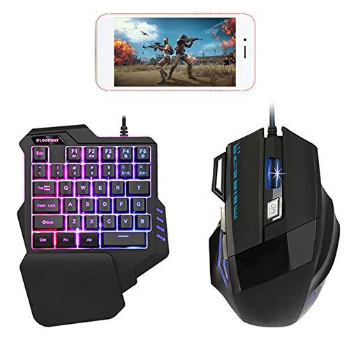Gaming Tastatur und Maus Set, Einhand-Tastatur, tragbare Mini-Gaming-Tastatur, 3-farbige Hintergrundbeleuchtung mit kabelgebundener Maus für Windows PC, für Mac OS, schwarz (Einhand-set 3)
