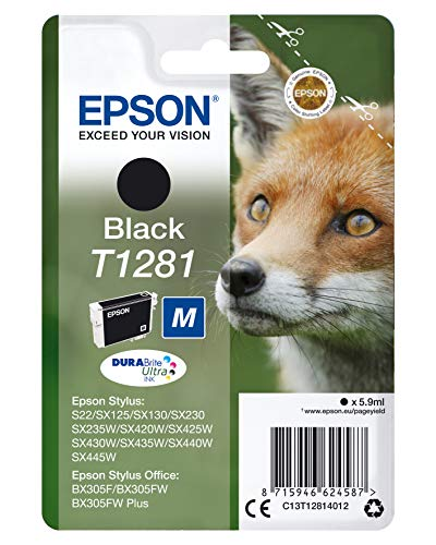 Epson Original C13T12814012 Fuchs, wisch- und wasserfeste Tinte (Singlepack) schwarz -