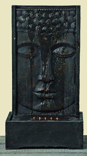 floristikvergleich.de Brunnen Buddha Skulptur Statue 90 cm Hoch Kunstharz Feng Shui Wasserfall