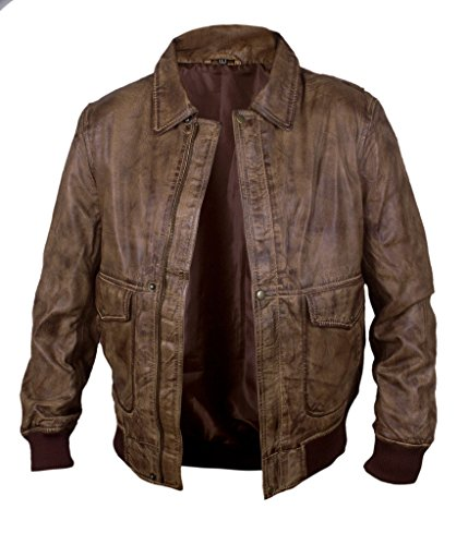 F&H Men's Waxed Genuine Leather Fault In Our Stars Ansel Elgort Bomber Jacket brown