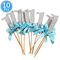 Walkretynbe Birthday Party Supplies Topper 10Pcs Number 1 Glitter Cake Toppers First Birthday Party Dessert Cupcake Decor - Silver Blue