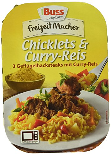 Buss Chicklets & Curry-Reis, 3 Geflügelhacksteaks mit Curry-Reis, 12er Pack (12 x 300 g)