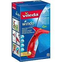 Vileda Windomatic - Aspirador de ventanas con labio de goma, limpiacristales con cabezal flexible y