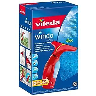 Vileda Windomatic – Aspirador de ventanas con labio de goma, limpiacristales con cabezal flexible y depósito de agua, aspiración vertical y horizontal, medidas 17,5x12x32 cm, color rojo