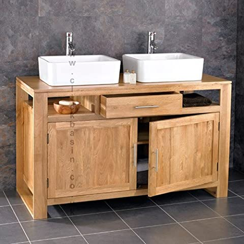 Clickbasin Cube Solid Oak Double Basin Two Door 130cm Wide Bathroom Cabinet by Clickbasin