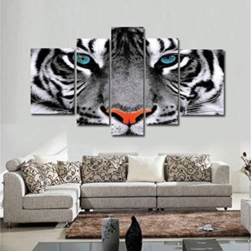 YXWLKG 5 aufeinanderfolgende Gemälde Moderne Wandkunst Poster Modulare Leinwand Gemälde 5 Stücke Tier Weiße Tigeraugen Bilder Decor Wohnzimmer
