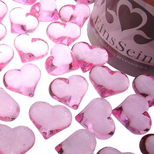 EinsSein 100x Dekosteine Funkelnde Herzen 22mm rosa Dekoration Streudeko Konfetti Tischdeko Hochzeit Diamanten Diamant Glas groß Geburtstag