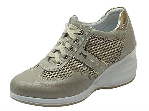 Nero Giardini Sneakers NeroGiardini per Donna in Pelle e Tessuto Beige con Zeppa Alta Savana T Spiro Platino