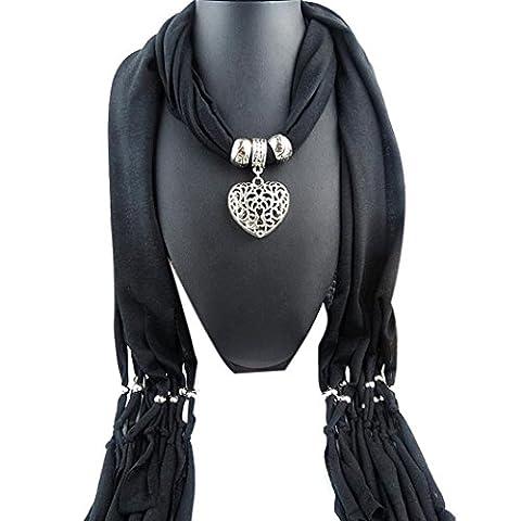 Damen Schal Herbst Winter Schals Quaste Pendant Schals+Schmuck 180X40cm (schwarz) (Einfache Bogen)