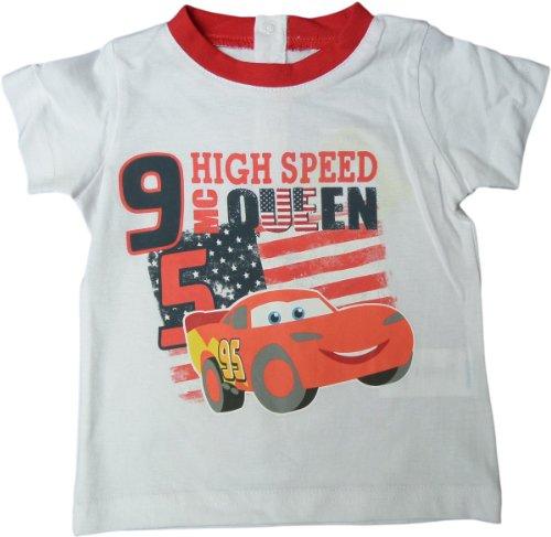 Disney Cars Baby T-Shirt - Lightning Mc Queen HGH Speed 95 - Weiß