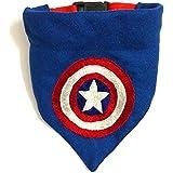 Captain America Embroidered Dog Bandana/Dog Scarf with Adjustable Dog pet Collar (M-L)
