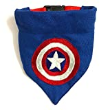 #6: Captain America Embroidered Dog Bandana/Dog Scarf with Adjustable Dog pet Collar (M-L)