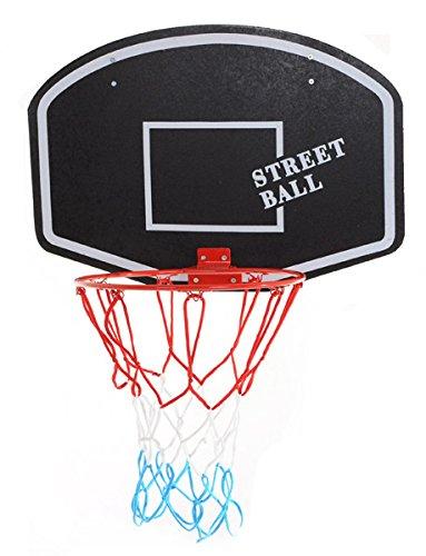 Basketballboard ABA Basketballkorb mit Netz Basketball Backboard für Kinder Basketballbrett inklusive Korb und Netz Basketballring Indoor (Street Ball weiß)