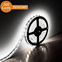 Carryme 5M LED Tape Ribbon Flexible Strip Lights 16.4ft SMD 5050 DC 12V Color Daylight White Waterproof Led Rope Lighting for Home Application Boat Decoration and Under Cabinet Lighting