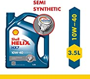 Shell Helix HX7 10W-40 API SN Semi Synthetic Engine Oil for Petrol, Diesel & CNG Cars (3.