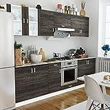 Anself 8 pz Kit Armadi Cucina Componibile Legno con Unità Base, Rovere/Wengè
