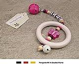 Baby Kinderwagen Anhänger mit NAMEN | Kinderwagenkette mit Wunschnamen - Mädchen Motiv Glitzer Schmetterling in pink