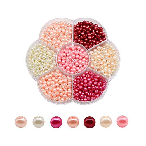 TOAOB 1050 Stück 4mm Glasperlen runde sortierte Mehrfarbig Perlen für Schmuckherstellung