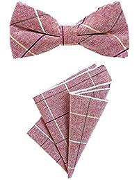 DonDon Herren Einstecktuch 23 x 23 cm im 2er Set mit farblich passender Fliege 12 x 6 cm mehrfarbig Baumwolle kariert