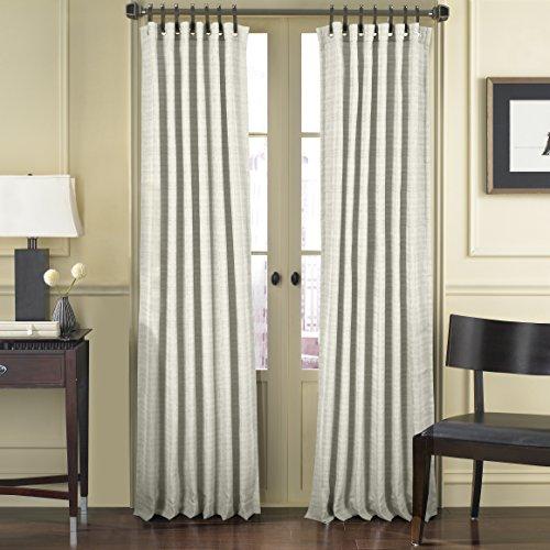 Fünf Queens Court Charlie Woven Fenster Schiebevorhang mit Tülle und Leder Tab Top, grau, grau, 50 x 63 Leder Top-panel
