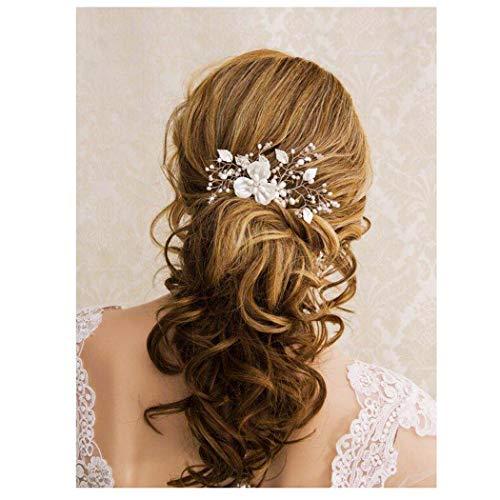 Simsly Bride Blumen-Hochzeits-Haarkamm, für Damen und Mädchen, silberfarben
