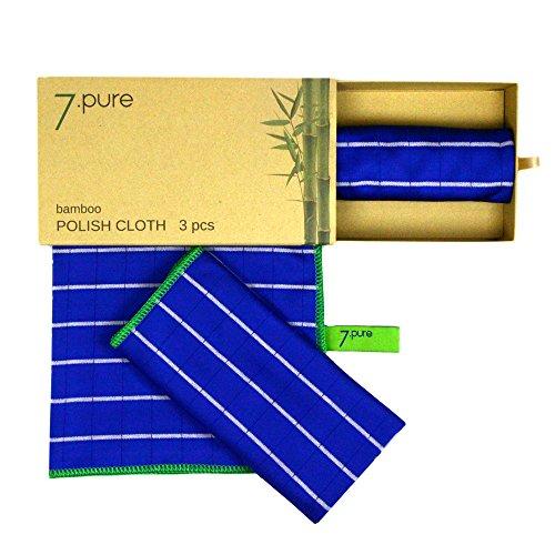 7.PURE Bambus Poliertücher | 3 Stück | 40 x 50 cm | Trocknen und Polieren mit der Kraft der Natur | Müheloser, streifenfreier Glanz | Fensterleder, Handtuch, Poliertuch, Trockentuch, Tücher (Dusche Reiniger Marmor)