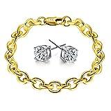 Showfay Schmuck Herren Damen Mode Armband 18K Gold kette Vergoldet Panzerkette Armreif für Männer, Länge 20 CM
