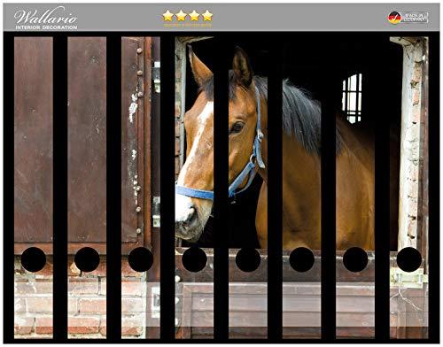 Wallario Ordnerrücken Sticker Pferd im Stall in Premiumqualität - Größe 8 x 3,5 x 30 cm, passend für 8 schmale Ordnerrücken -